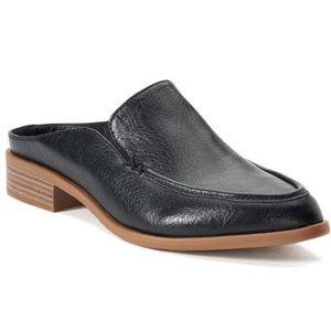 SONOMA Kelley Black Faux Leather Mule Slides